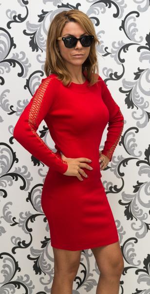 Дамска плетена рокля с дълъг ръкав - червена 4