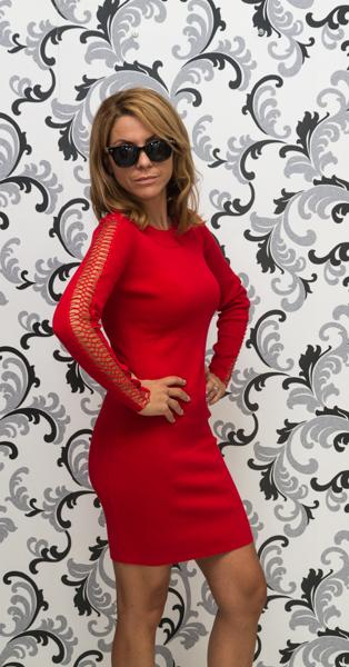 Дамска плетена рокля с дълъг ръкав - червена 3