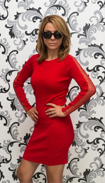 Дамска плетена рокля с дълъг ръкав - червена 2