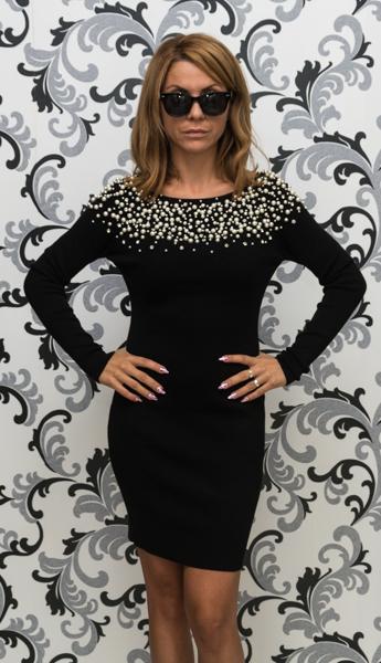 Дамска плетена рокля с перли - черна 1