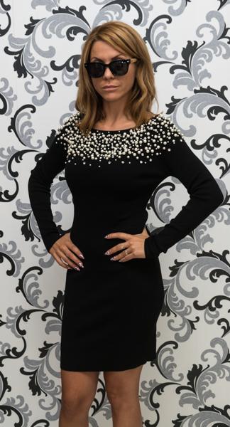 Дамска плетена рокля с перли - черна 2