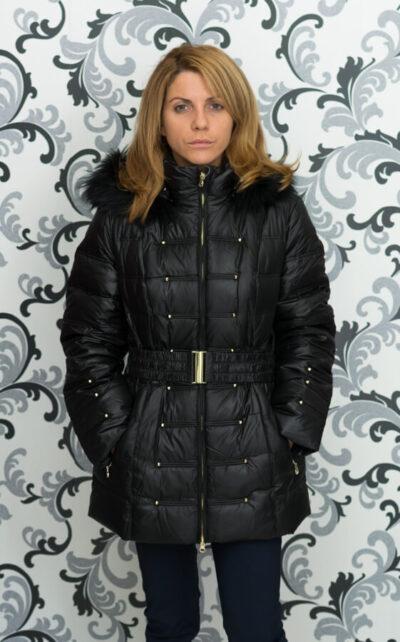 Дамско зимно пухено яке с малки капси - черно 4
