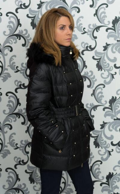 Дамско зимно пухено яке с малки капси - черно 3