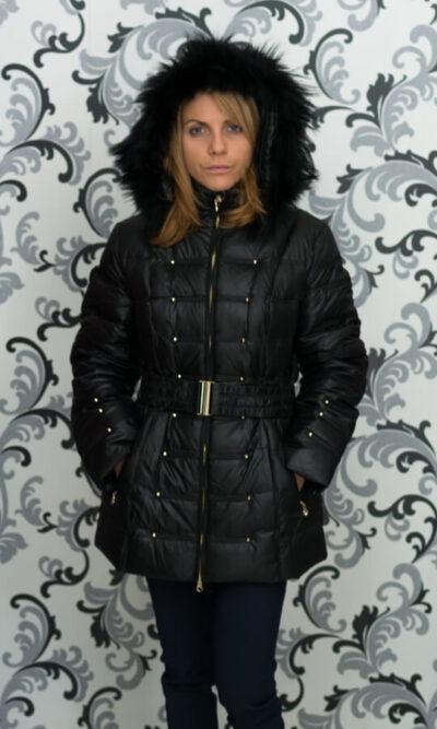 Дамско зимно пухено яке с малки капси - черно 1