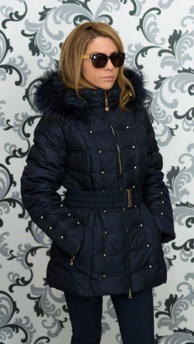 Дамско зимно пухено яке с малки капси - тъмносиньо 3