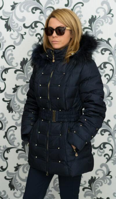 Дамско зимно пухено яке с малки капси - тъмносиньо 2