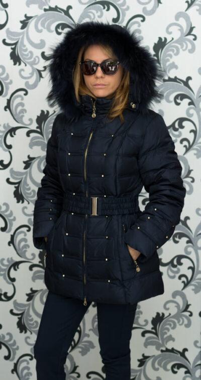 Дамско зимно пухено яке с малки капси - тъмносиньо 1