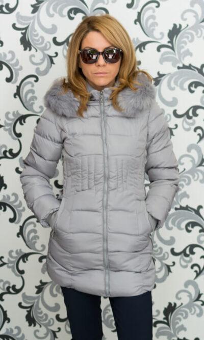 Дамско зимно вталено яке - сиво 3