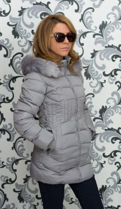 Дамско зимно вталено яке - сиво 2