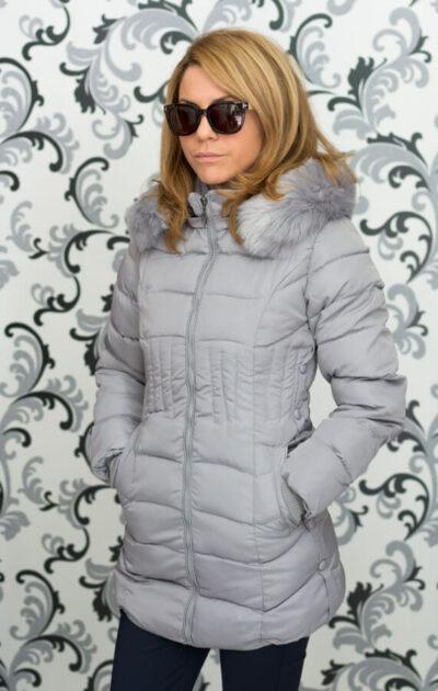 Дамско зимно вталено яке - сиво 4