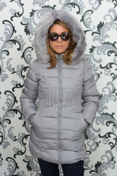 Дамско зимно вталено яке - сиво 1