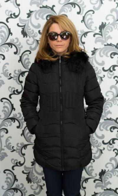 Дамско зимно вталено яке - черно 4