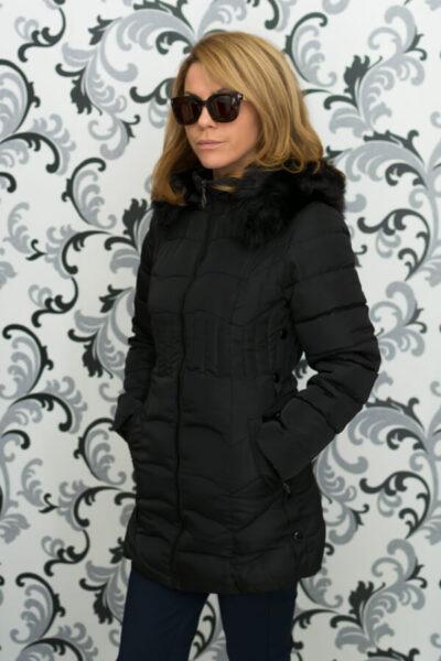 Дамско зимно вталено яке - черно 3
