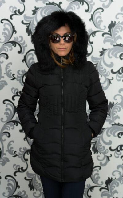 Дамско зимно вталено яке - черно 1