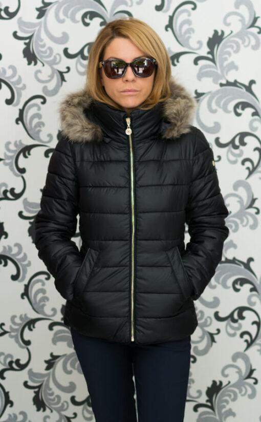 Дамско късо яке с качулка - цвят черен 4