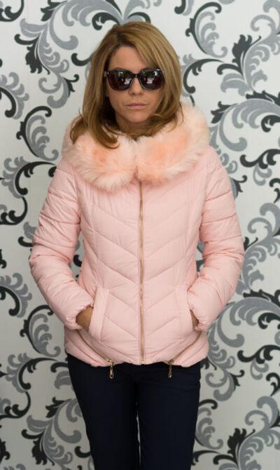 Дамско зимно яке в розово с ципове 4