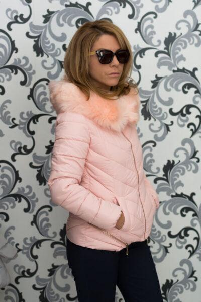 Дамско зимно яке в розово с ципове 3