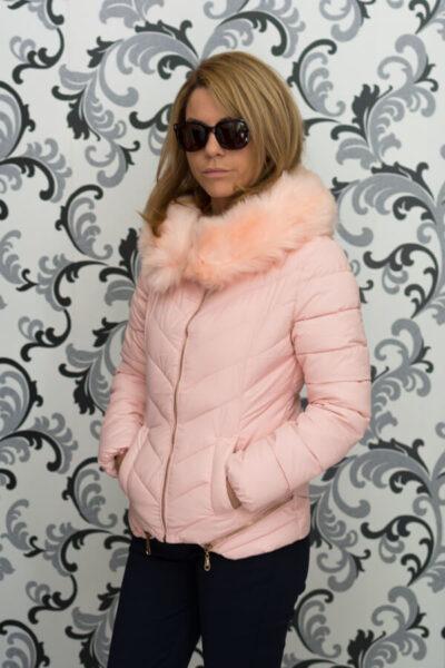 Дамско зимно яке в розово с ципове 2