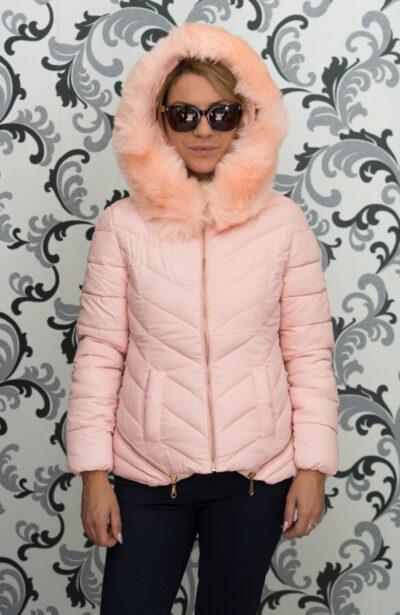Дамско зимно яке в розово с ципове 1