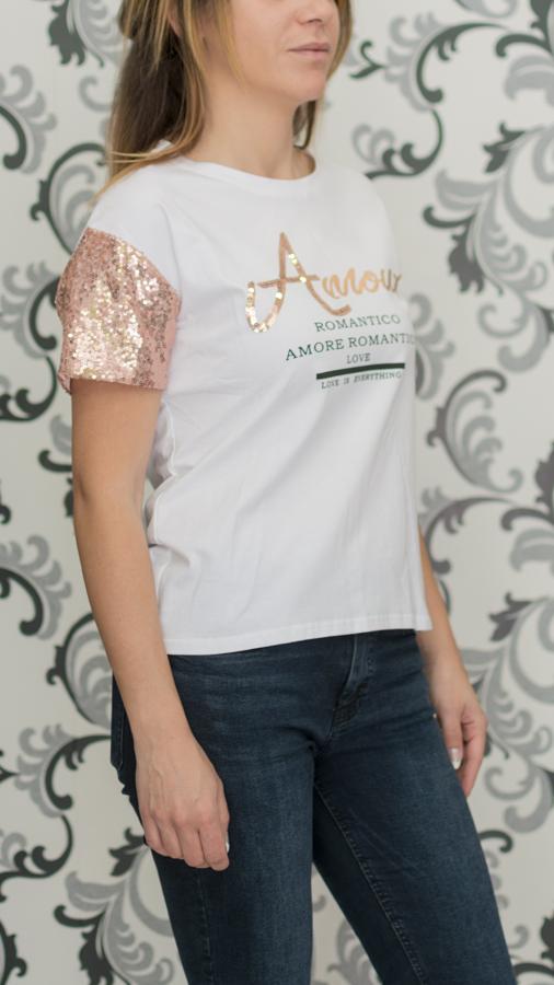 Бяла блуза с пайети на ръкавите 2