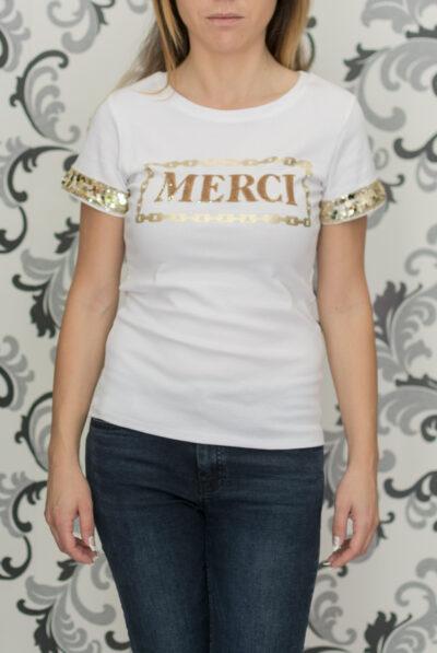 Бяла блуза с пайети - merci 1