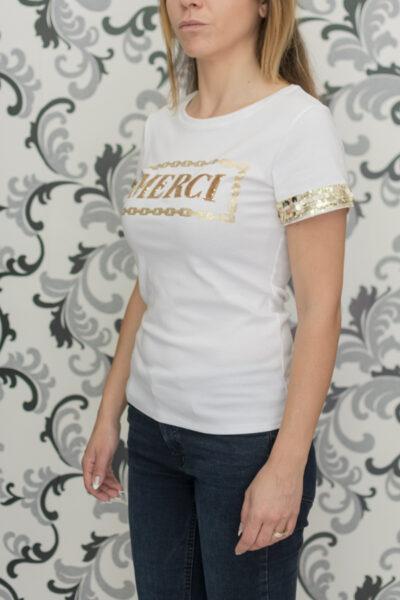 Бяла блуза с пайети - merci 2