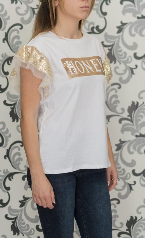 Бяла блуза със златисто