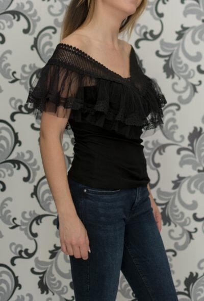 Черна памучна блуза