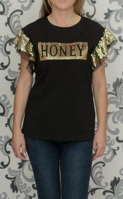 Черна блуза с пайети - HONEY 1