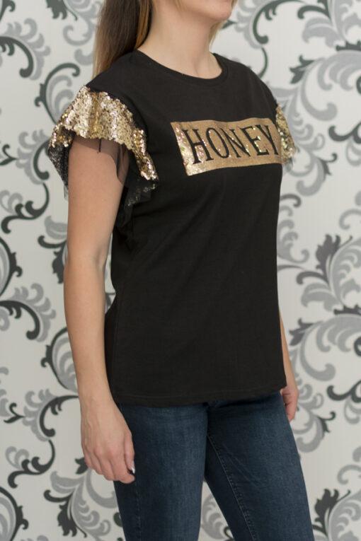 Черна блуза с пайети - HONEY 2