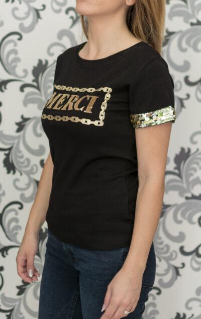 Черна дамска блуза с пайети