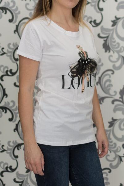 Бяла тениска с декоразия