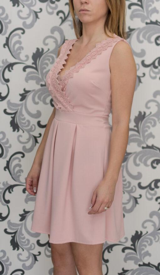 Розова къса рокля