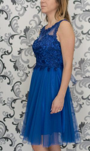 Синя рокля с тюл и дантела
