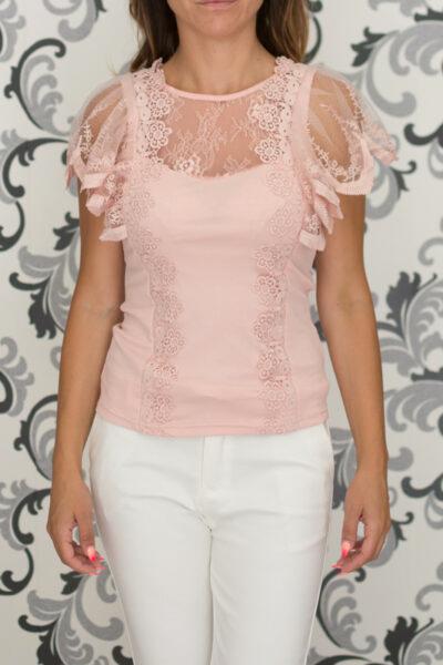 Памучна розова блуза