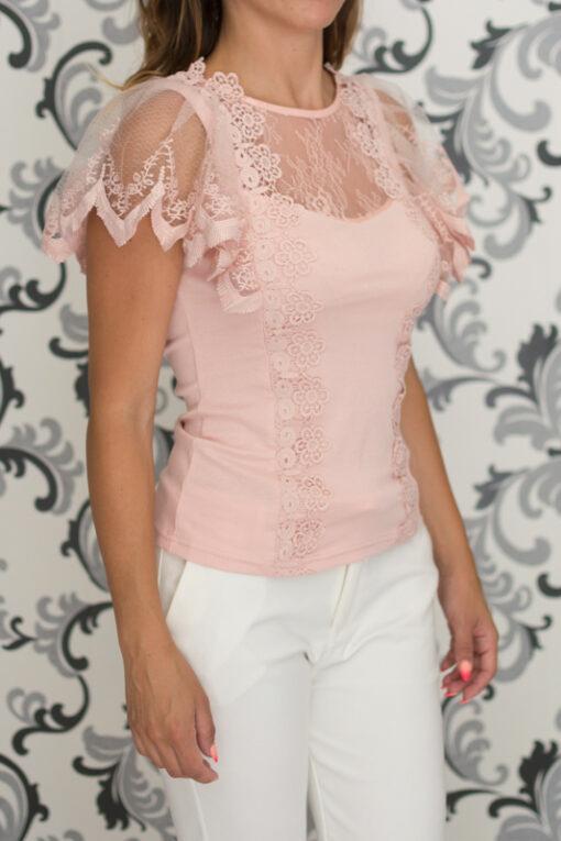 Дамска розова блуза с дантела