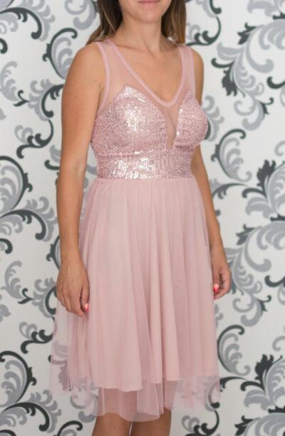 Розова рокля с пайети и тюл