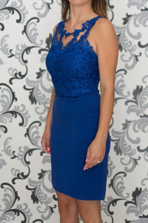 Синя вталена рокля