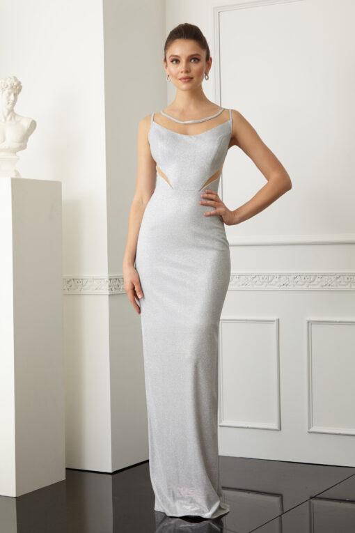 Сребриста дълга рокля