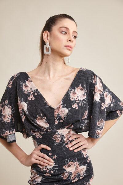 Вталена рокля на цветя с кимоно ръкав - Fervente 1