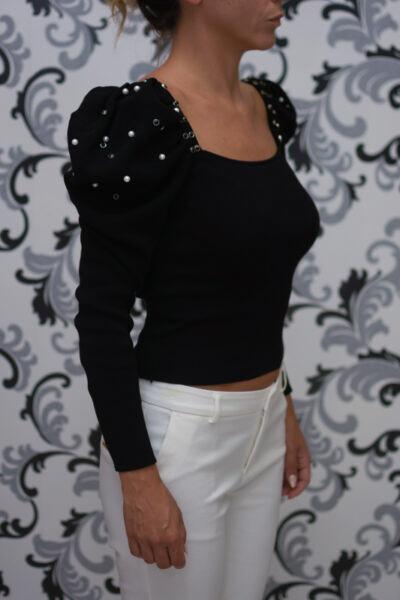Черна блуза - плетена