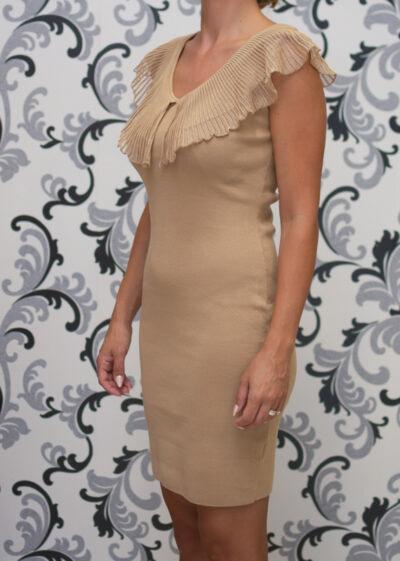 Бежова плетена рокля