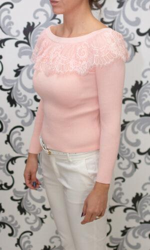 розова плетена блуза