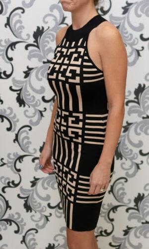 Плетена рокля - черно с бежово