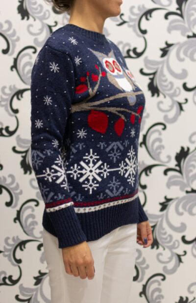 Тъмносин коледен пуловер