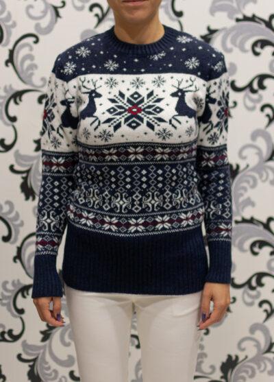 коледен пуловер с еленчета