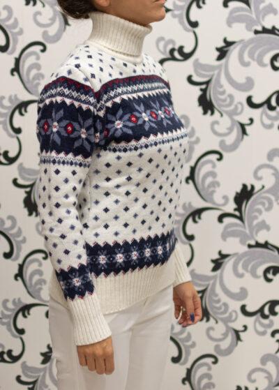 Коледен пуловер тип поло - бял 4