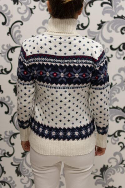 Коледен пуловер тип поло - бял 3