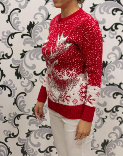 Коледен пуловер - червен с елен и снежинки 1