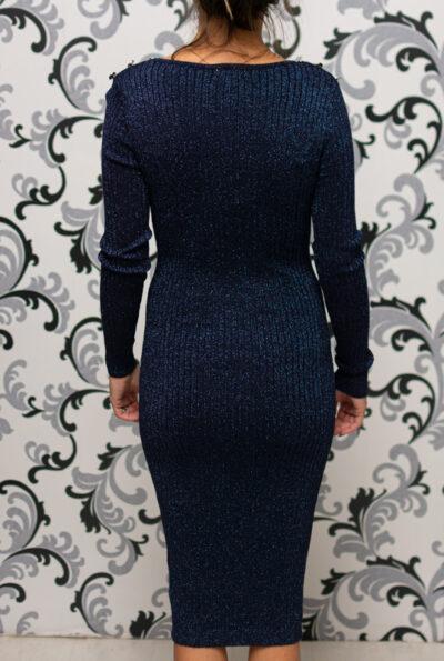 Тъмносиня плетена рокля